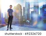 full length portrait of happy... | Shutterstock . vector #692326720
