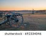 Cannons At Sunset On Gettysbur...
