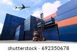 forklift handling container box ... | Shutterstock . vector #692350678