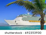 luxury cruise ship sailing to... | Shutterstock . vector #692353930