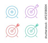 target icon set. flat line... | Shutterstock . vector #692358004