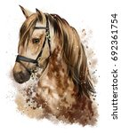 horse head watercolor drawing | Shutterstock . vector #692361754