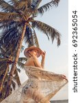 a beautiful young blond woman... | Shutterstock . vector #692365054