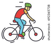 cyclists  sport bikes ... | Shutterstock .eps vector #692365738