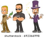 cartoon magician with cards... | Shutterstock .eps vector #692366998