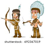 cartoon indian chief with...