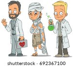 cartoon doctor with bag sick... | Shutterstock .eps vector #692367100