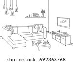 living room graphic black white ... | Shutterstock .eps vector #692368768
