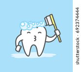 tooth cute cartoon character... | Shutterstock .eps vector #692374444