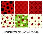 Ladybug Patterns Set. Vector...