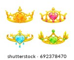 cartoon golden princess crowns... | Shutterstock .eps vector #692378470