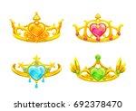 cartoon golden princess crowns...   Shutterstock .eps vector #692378470