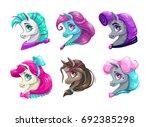 cartoon pretty horses faces.... | Shutterstock .eps vector #692385298