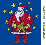 a santa claus in engrave style... | Shutterstock .eps vector #6923890