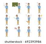 male teacher emoji set on white ... | Shutterstock . vector #692393986