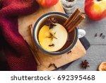 hot drink of apple tea with... | Shutterstock . vector #692395468