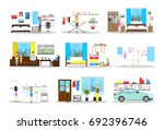 house interior set. inside the... | Shutterstock . vector #692396746