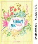 summer sale flyer template... | Shutterstock .eps vector #692397478