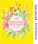 summer sale flyer template... | Shutterstock .eps vector #692397496