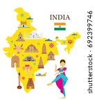 india map and architecture...   Shutterstock .eps vector #692399746