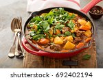 stewed beef with potatoes ... | Shutterstock . vector #692402194