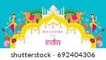 india travel attraction banner  ... | Shutterstock .eps vector #692404306