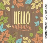 hello autumn template vector... | Shutterstock .eps vector #692405320