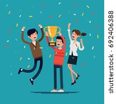 business team achievements.... | Shutterstock .eps vector #692406388