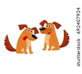 two funny cute brown house dog... | Shutterstock .eps vector #692407924