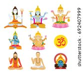 god of hinduism and priest set  ... | Shutterstock .eps vector #692407999
