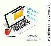 email list laptop isometric... | Shutterstock .eps vector #692408734