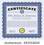 blue certificate diploma or... | Shutterstock .eps vector #692416024