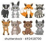 cute forest animals isolated on ... | Shutterstock . vector #692418700