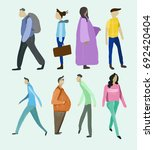 people illustration on street  | Shutterstock . vector #692420404