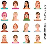 set of portraits of avatars of... | Shutterstock .eps vector #692429179