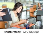 young business woman with laptop | Shutterstock . vector #692430850