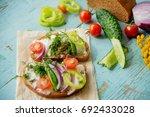 vegetarian sandwich with...   Shutterstock . vector #692433028