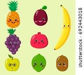 cute cartoon fruit characters... | Shutterstock . vector #692443018