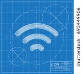 vector blueprint wifi icon  on...