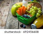 healthy school lunch box | Shutterstock . vector #692456608