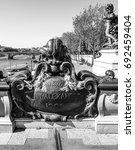 Small photo of Amazing sculptures on Alexandre III Bridge in Paris - Pont Alexandre III