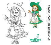 cute girl in witch costume... | Shutterstock .eps vector #692460988
