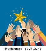 group of hand reaching for the...   Shutterstock .eps vector #692463346