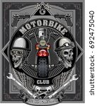 vintage motorcycle label  | Shutterstock .eps vector #692475040