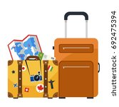 travel luggage. map and bags.... | Shutterstock .eps vector #692475394