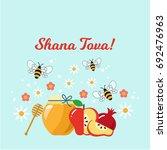 shana tova. rosh hashanah.... | Shutterstock .eps vector #692476963