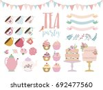 tea party elements set. vector... | Shutterstock .eps vector #692477560