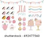 tea party elements set. vector... | Shutterstock .eps vector #692477560