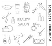 beauty salon. set of flat... | Shutterstock . vector #692478508
