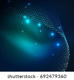 3d illuminated wave of glowing... | Shutterstock .eps vector #692479360